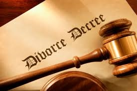 Divorce decree and gavel