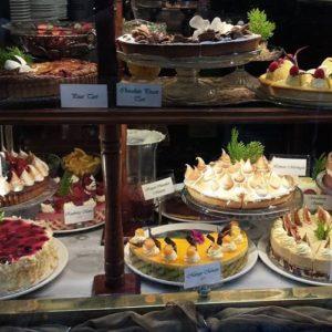 cakes in shop window