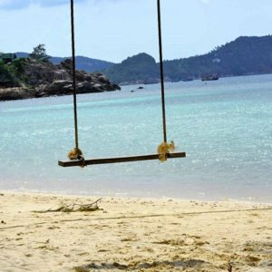 rope swing at a peaceful beach