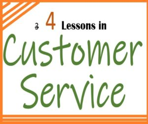 Note saying 4 lessons in customer service