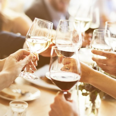 Friends toasting success at dinner party