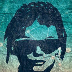 head of woman wearing glasses