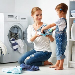 saving time in laundry for work at home mum