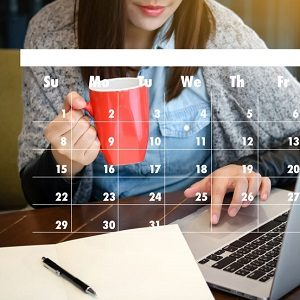 Woman with Organiser and Calendar