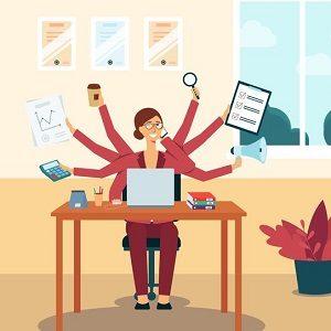 Multitasking woman in office