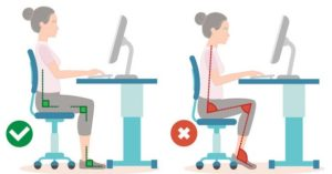 Correct sitting pose in work place foot care