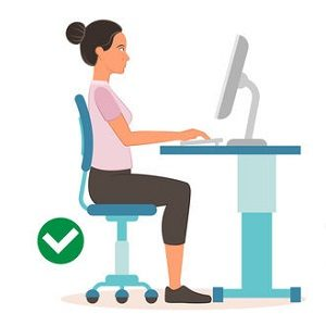 correct sitting position at computerC