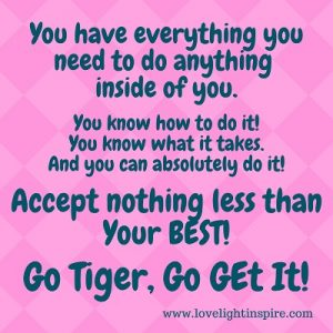 Go Tiger go get it! - Love Light Inspiration Quote