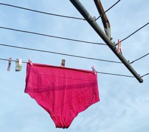 washing hanging on outdoor clothesline