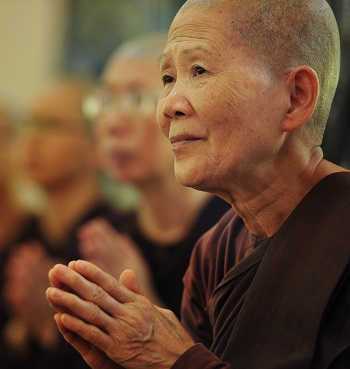 woman buddhist at peace
