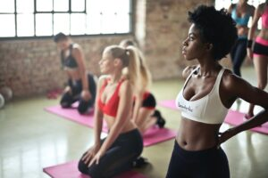 young women in exercise class