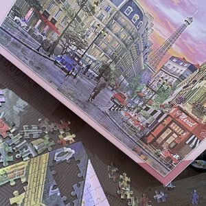 Box cover picture of jigsaw puzzle with loose pieces