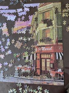 Jigsaw puzzle of Shop partly completed