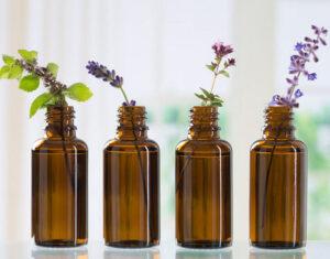 Brown Bottles of essential oil